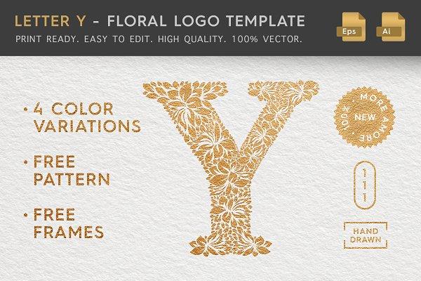 Letter Y - Floral Logo Template