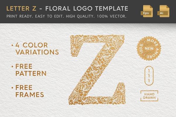 Letter Z - Floral Logo Template