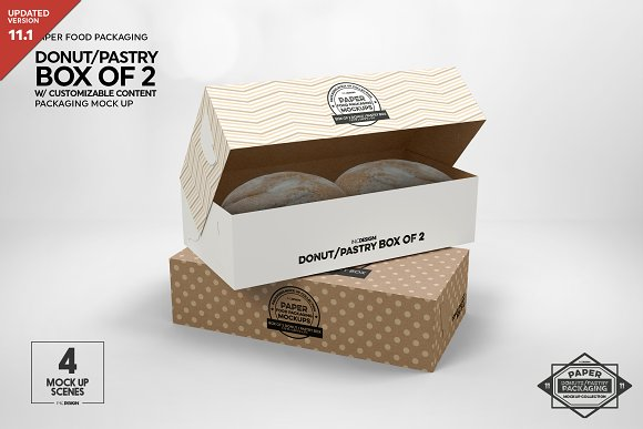 Download Box Of Two Donut Pastry Box Mockup Creative Photoshop Templates Creative Market
