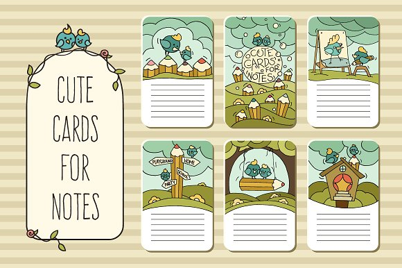 cute printable cards for notes card templates creative market