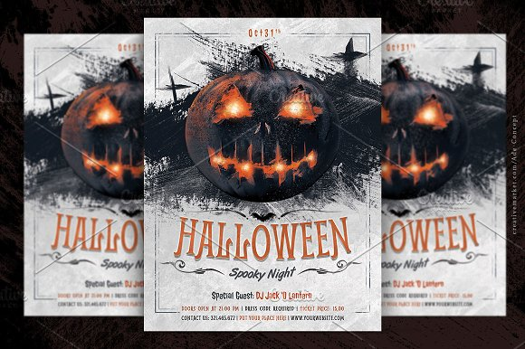 halloween party flyer template flyer templates creative market. Black Bedroom Furniture Sets. Home Design Ideas