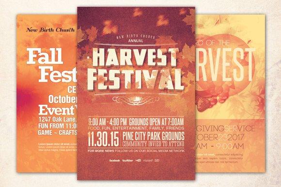 church harvest flyer bundle flyer templates creative market