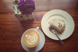 latte coffee and coconut cream pie