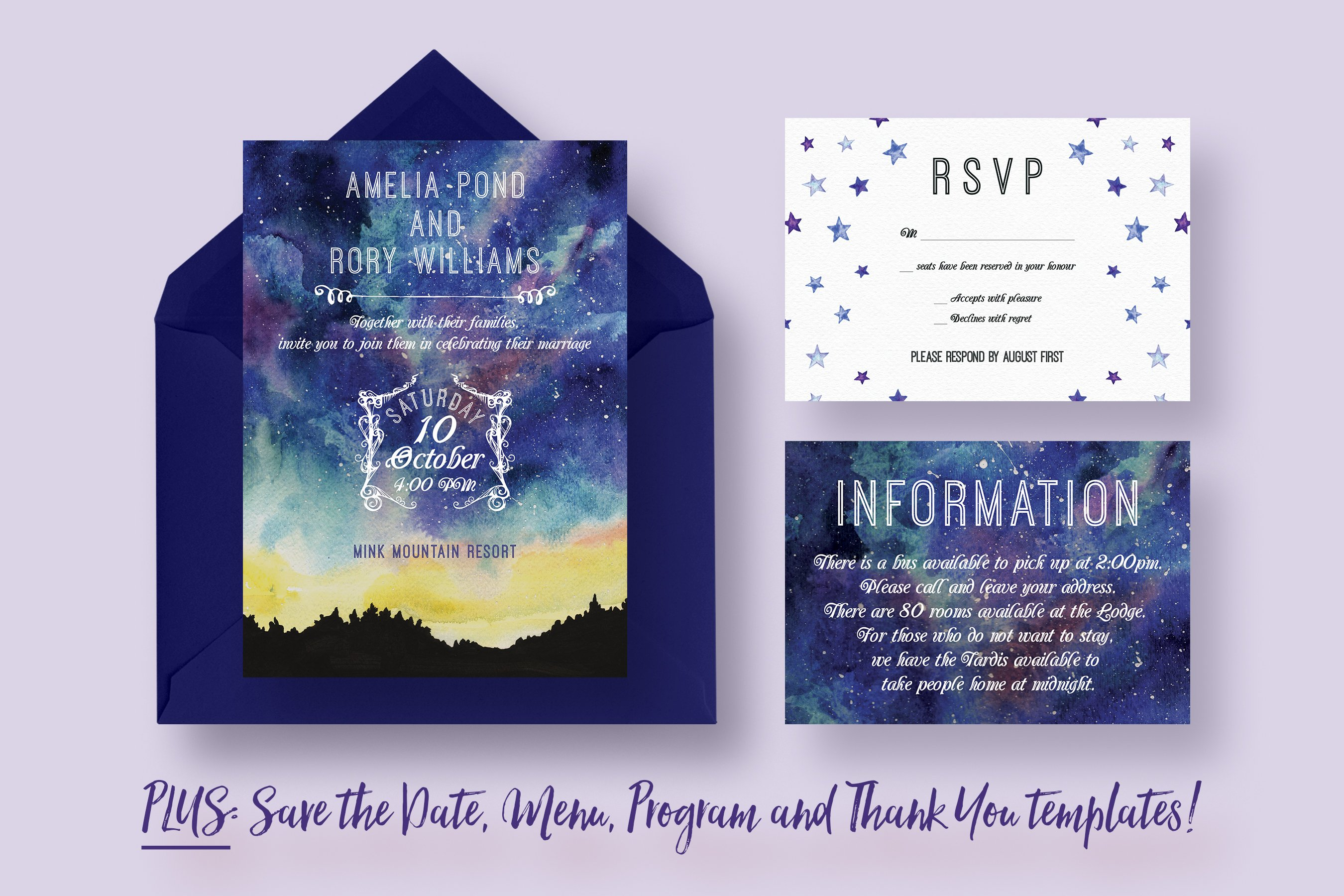 To the Moon and Back Wedding Suite ~ Invitation Templates ~ Creative ...