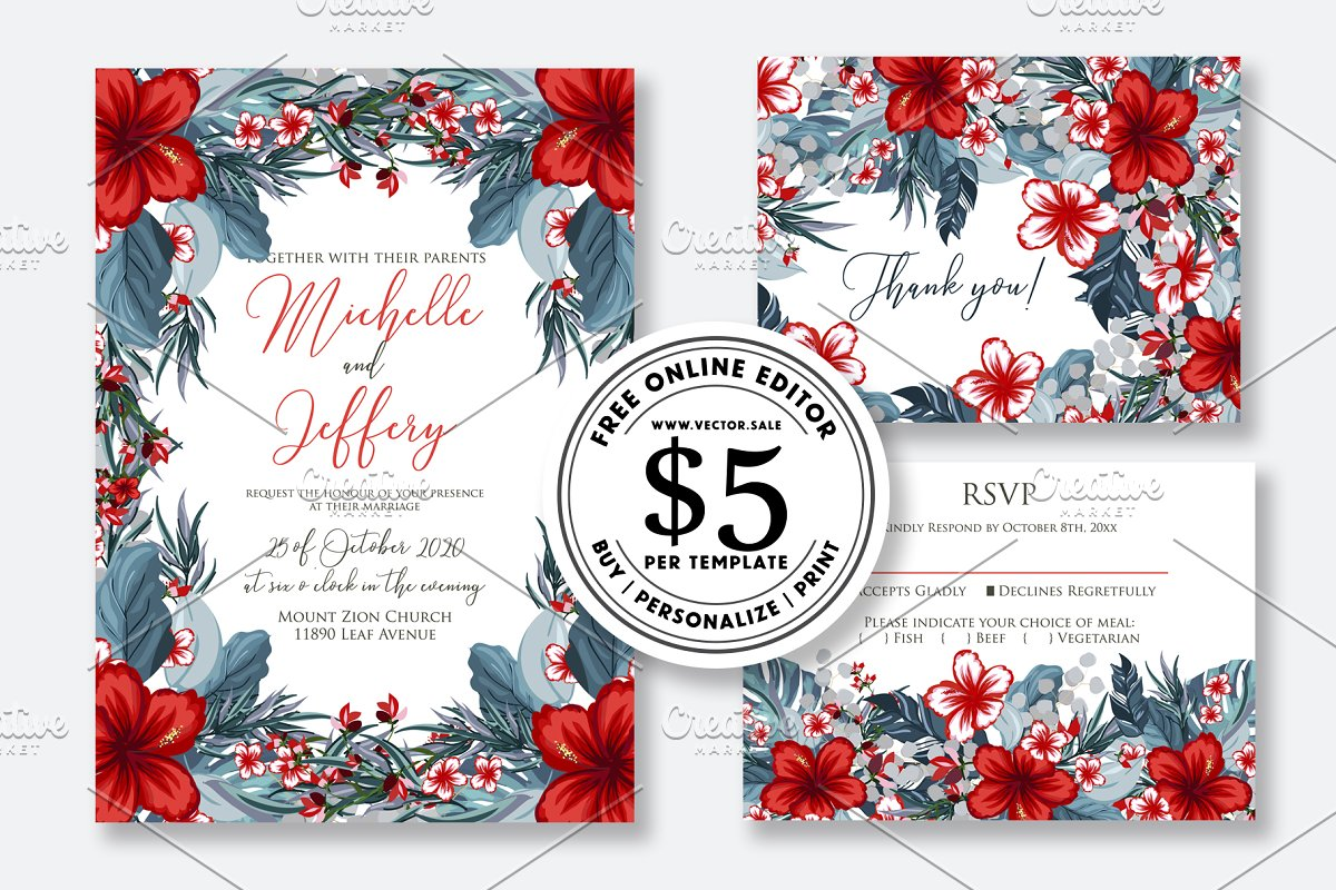Wedding Invitation Tropical Hibiscus Templates Creative