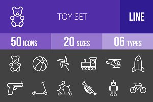 50 Toy Set Line Inverted Icons