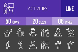 50 Activities Line Inverted Icons