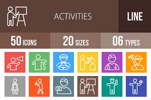 50 Activities Line Multicolor Icons
