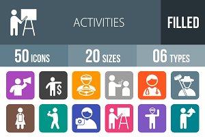 50 Activity Flat Round Corner Icons