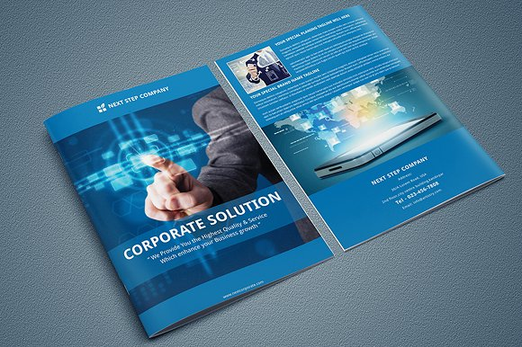 Indesign corporate bi fold brochure brochure templates for Bi fold brochure template indesign free