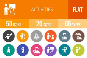 50 Activities Flat Round Icons