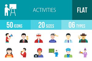 50 Activities Flat Multicolor Icons