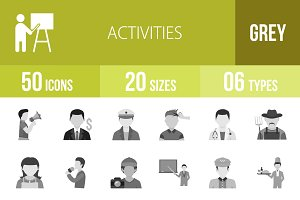 50 Activities Greyscale Icons