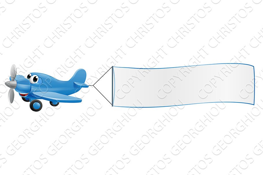 Airplane Pulling Banner Cartoon Pre Designed Photoshop Graphics