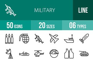 50 Military Line Icons
