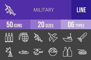 50 Military Line Inverted Icons