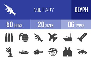 50 Military Glyph Icons