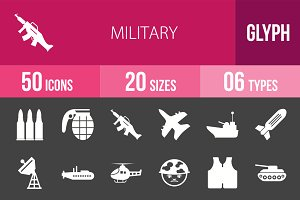 50 Military Glyph Inverted Icons