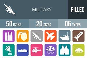50 Military Flat Round Corner Icons