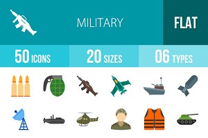50 Military Flat Multicolor Icons