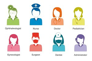 Set of colored icons avatar doctors