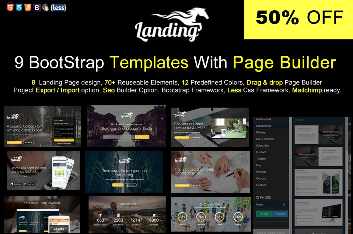 Bootstrap Template With Page Builder ~ Bootstrap Themes ~ Creative ...