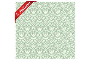 Set of 5 Damask Seamless Patterns