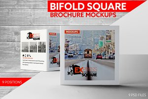 Bifold Square Brochure Mockups