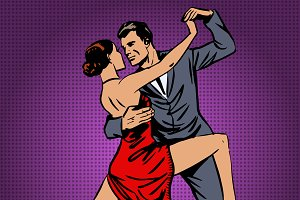 man and woman passionately dancing