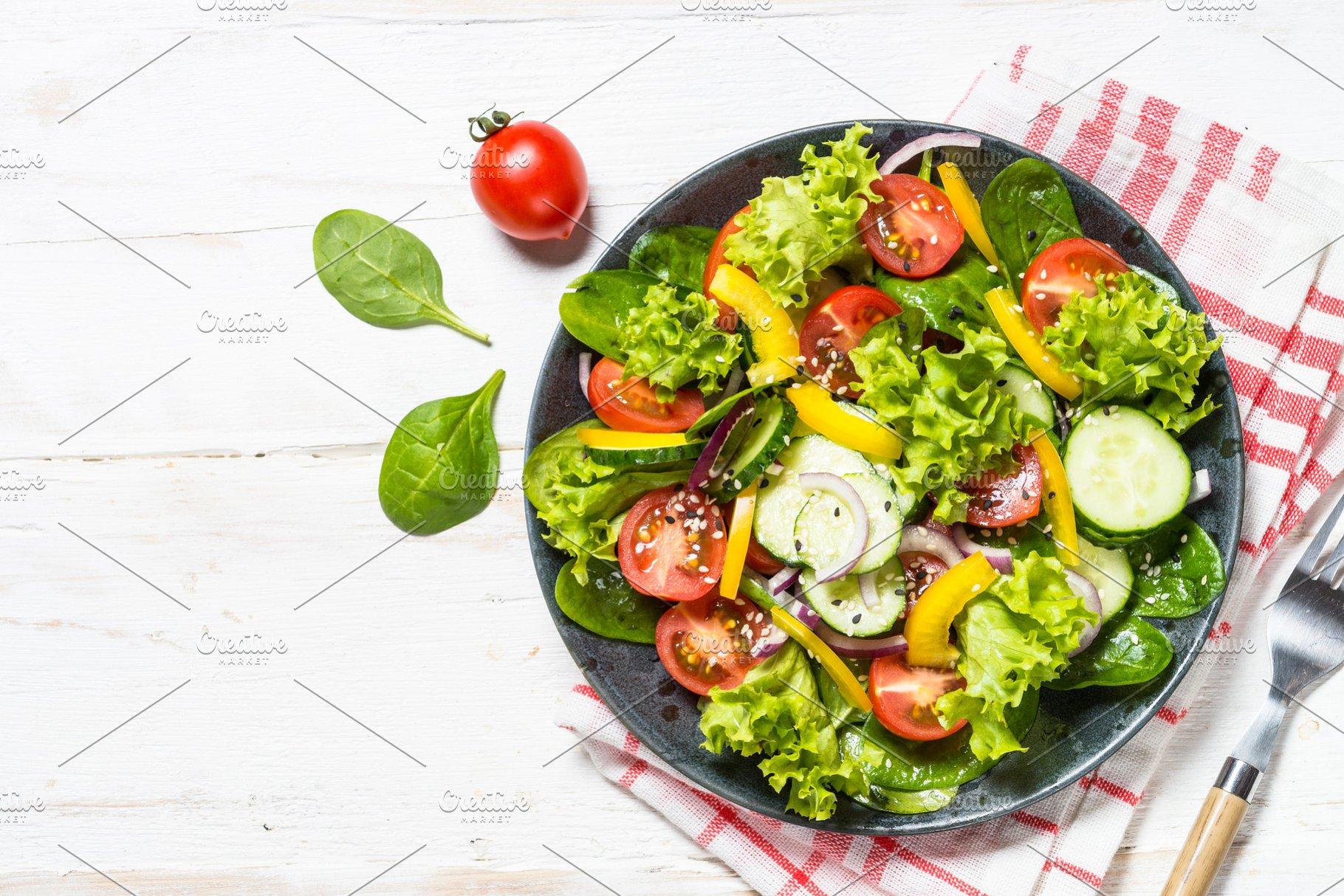 Fresh Vegetables Salad On White