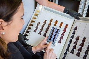 Woman taking photo to hair dye