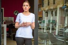 Hairdresser woman in a coffee break