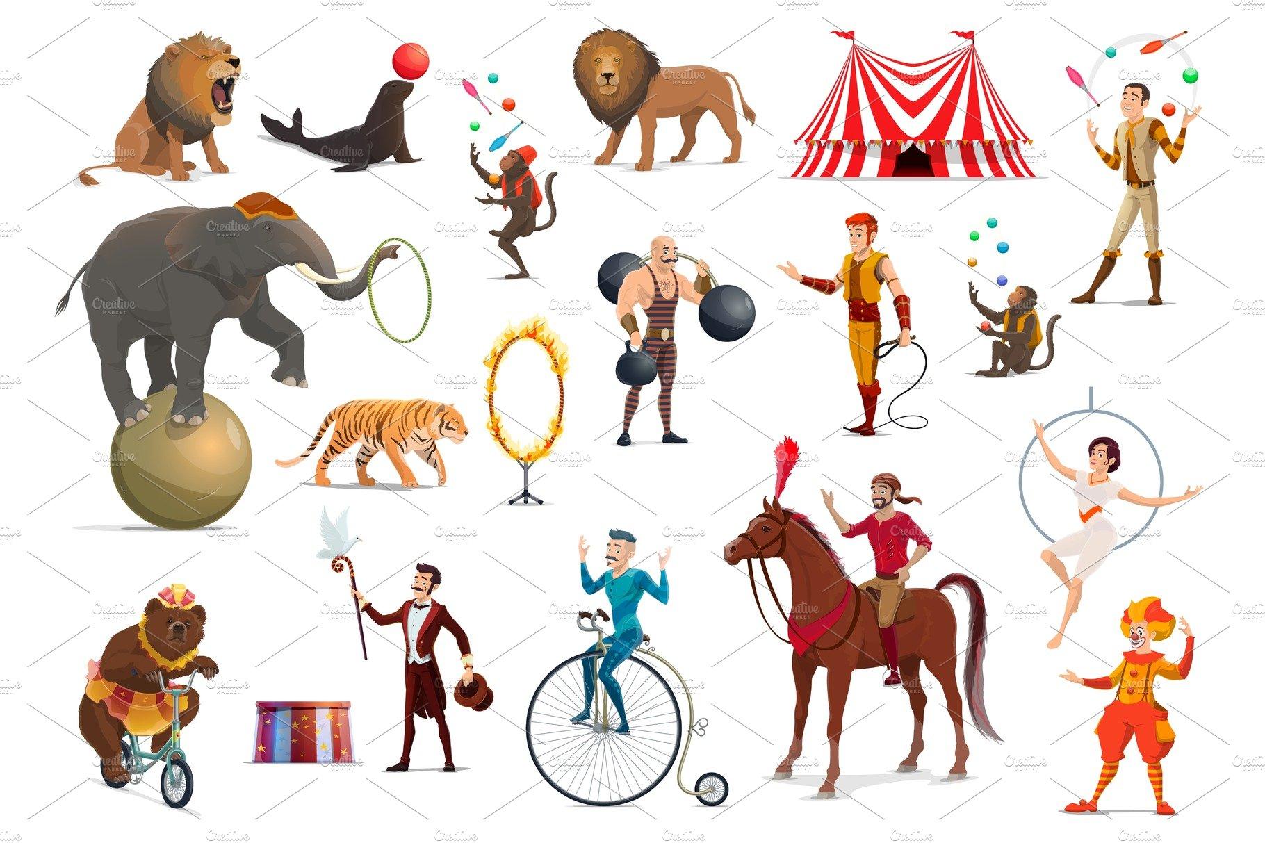 Circus acrobat, clown, animals