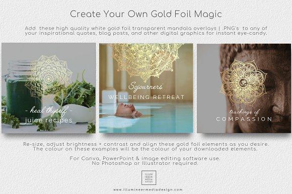 6 Gold Foil Mandala Overlays