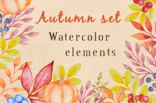 Watercolor autumn design kit