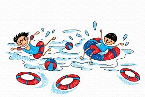 Kids Swimming Activity Colorful Vect