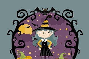 Little girl in witch costume on thre