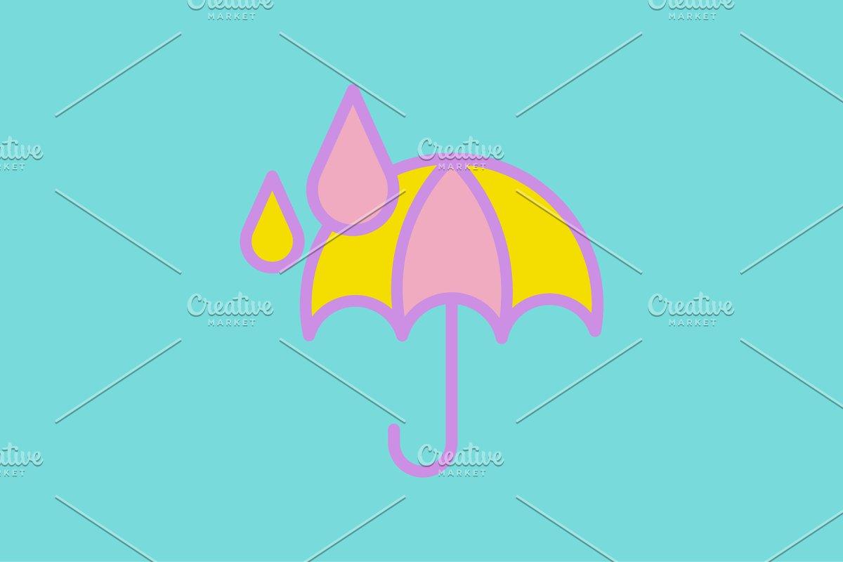 Web icon. Umbrella and rain