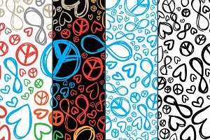 Love Peace Infinity Vector Pattern