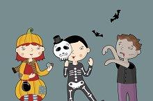 Kids in halloween costume.