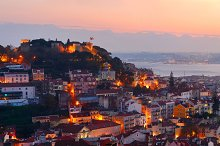Lisbon Old town view with castle