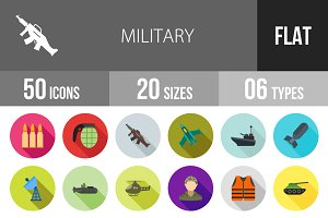 50 Military Flat Shadowed Icons