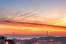 Colorful Lisbon skyline at sunset