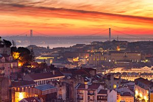 Colorful Lisbon skyline at sunset