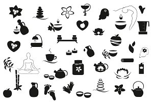 Set spa, yoga icons