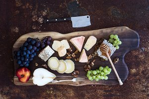 French cheese selection and grapes