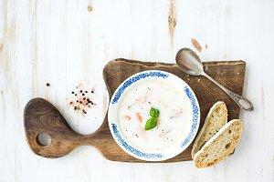 Scandinavian salmon soup with cream