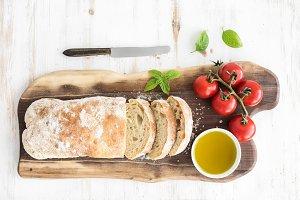 Freshly baked ciabatta bread
