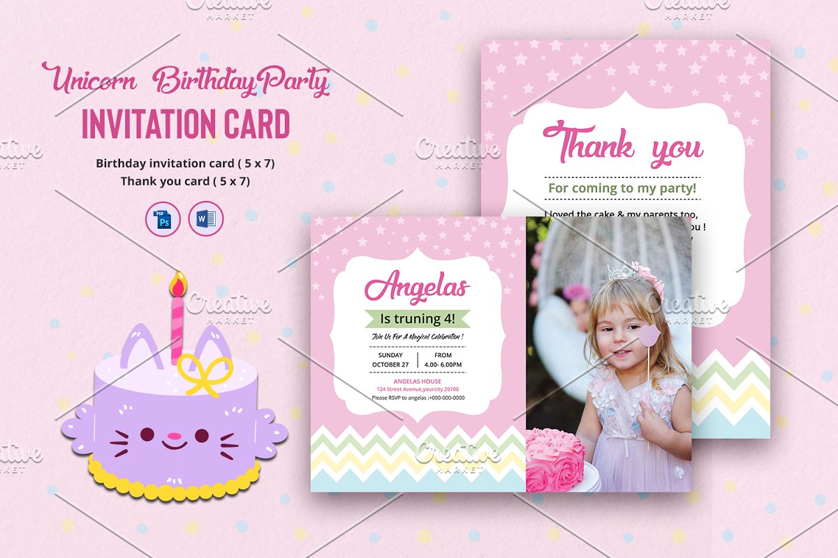 Birthday Party Invitation Card V1060 Flyer Templates