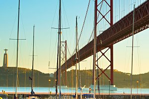 Marina under the bridge, Lisbon